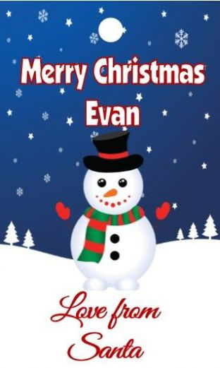 10 Large Snowman Christmas Gift Sticker